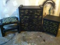 Truly cool green camo and black bed room set. This set