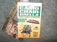CAMO UMBRELLA THAT ATTACHES TO MOST OUTDOOR CHAIRS.