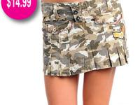 Camo Mini Skirt with Army patches. Pleated Mini Skirt.