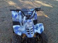 blue camo jetmo quad, nearly new, son just outgrew it.