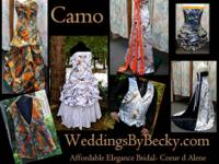 Camo Wedding Gowns- custom made- any kind of camo -