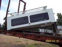 USED WHITE TAILGATOR CAMPER SHELL . TWO DOOR ACCESS
