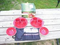 Coleman 24 piece red enamelware setting for 4 with