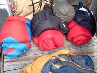 Tents, sleeping bags, collapsable picnic table,