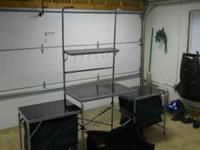 Folding kitchen comes with carrying case, 3 work areas,