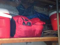 28 quart cooler; Gott jug; 2 sleeping bags; BBQ;