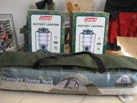 Camping package 2 brand new lanterns 1 brand new 9x7