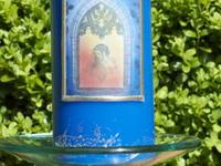 Gold Stamped Blue Pillar Candle Handmade paraffin wax