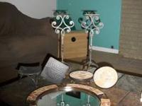 3 candle stands, and a mirror table center piece. The