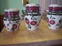 very pretty three piece canister set canning style lids