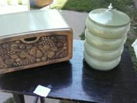 Vintage bread box and canister set  excellent shape