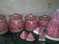Watermelon cannister set/cookie jar and two sets of