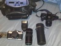 Hey I got a cannon ae-1 camera with 2 lenses flash