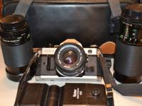 35MM FILM Cannon AE-1 program camera with, case bag,