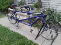 "Cannondale R.T. 2000  tandem. 21""x 19""  21 speed.  drum"