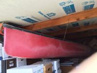 Fiberglass Oscoda canoe, 18', racing, 4 paddles (2 wood