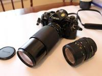 CANON A1 SLR BODY with Canon lenses, 35 - 70 and 70 -