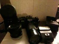 Canon AE-1 WITH 70-150MM Zoom lens, 25mm lens,manual,