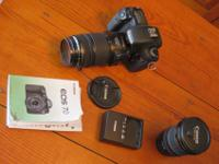 Canon 7d DSLR camera body with two lenses: 70-300 mm