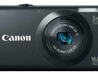 Blue Canon Powershot AE3400 IS HD 16 MP video camera.