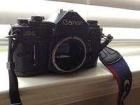 Canon A-1 35mm film camera with battery power winder,