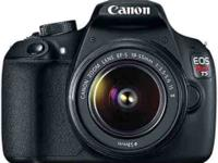 The Canon EOS Rebel T5 SLR camera with the top notch