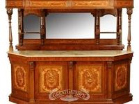 Marquetry inlaid canopy pub bar with marble serving