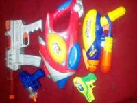 4 play guns for $3, blue gun is a cap gun, red and