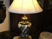 Beautiful Black and White Capadimonte Lamp with floral