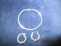 CAPE COD BRACLET AND EAR RINGS BOTH STERING AND 14 K