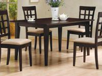 Deep cappuccino finish dining table & 6 chairs for only