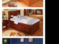 Features a headboard and is mattress ready. Solid pine