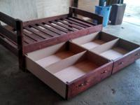 Solid wood bed frame with one large drawer or two