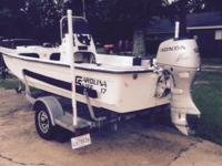 17 ft carolina skiff 50 honda with galv trailer, $