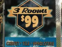 Get 3 rooms of Carpet professionally cleaned for 99