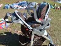 for sale a blue and brown stroller carseat combo. it is