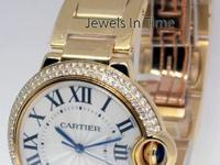 Cartier Ballon Bleu 18k Gold & Diamond 36mm Watch NEW