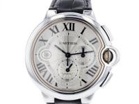 Cartier Ballon Bleu chronograph Mens XL 48mm 18K White