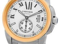 "Gent's Stainless Steel & 18K Rose Gold Cartier ""Calibre"