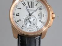 This Authentic Cartier Calibre 18k Rose Gold/ White