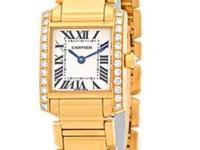 "Lady's 18K Yellow Gold Cartier Diamond ""Tank"
