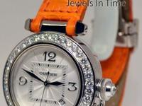 Cartier Pasha 32mm 18k White Gold & Diamond Automatic