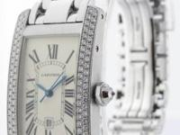 Cartier Tank Americaine 18k White Gold & Diamonds Watch