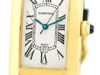 "Lady's Medium Size 18K Yellow Gold Cartier ""Tank"