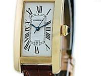 "Midsize 18K Yellow Gold Cartier ""Tank American"""
