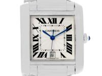 Case: 18K white gold rectangular 28.0 x 32.0 mm