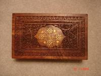 Beautiful Carved Wooden Jewelry Box with inlaid mother