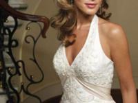 Like NEW Casablanca ivory halter gown of silk taffeta
