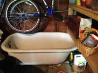 Clawfoot tub is not installed; it is in excellent