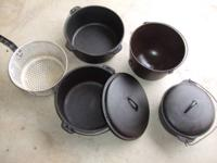 CAST IRON OLD POTS 4 LOOK ONE GRISWOLD NUMBER 8 WITH